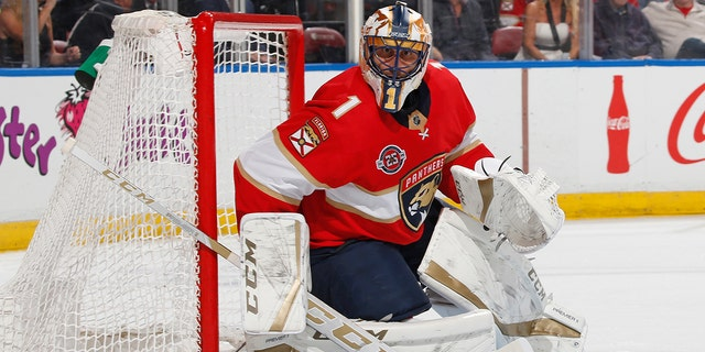 FILE - In this Feb. 23, 2019, file photo, Florida Panthers goaltender Roberto Luongo (1) defends the net against the Los Angeles Kings during the second period of an NHL hockey game in Sunrise, Fla. Florida goalie Roberto Luongo has decided to retire after 19 seasons. The 40-year-old Luongo made the announcement Wednesday, June 26, 2019, on his Twitter account.(AP Photo/Joel Auerbach, File)