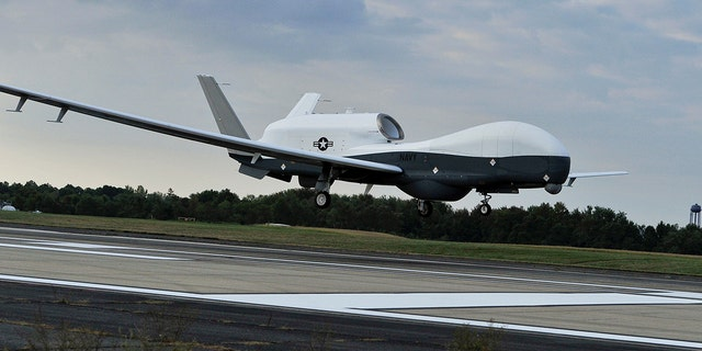 The U.S. Navy's RQ-4A Global Hawk drone is a high-altitude drone can fly up to 60,000 feet or 11 miles in altitude and loiter for 30 hours at a time.