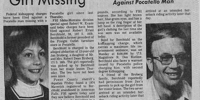 Newspaper clipping from kidnapping. — Courtesy of Jan Broberg