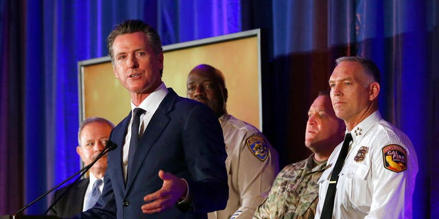 California Gov. Gavin Newsom speaks at the California for All Emergency Management Preparedness Summit, Monday, June 3, 2019, (AP Photo/Rich Pedroncelli)