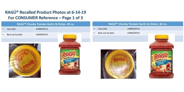 Ragú pasta varieties have been voluntarily reminded that there may be fragments of plastic inside. t over fears may have fragments of plastic inside. <span class=