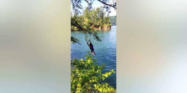 Rope swinging into a lake in South Carolina (Courtesy of the author)