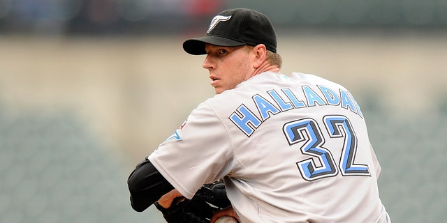 Roy Halladay #32 of the Toronto Blue Jays pitches against the Baltimore Orioles at Camden Yards on May 27, 2009, in Baltimore. (Getty Images)