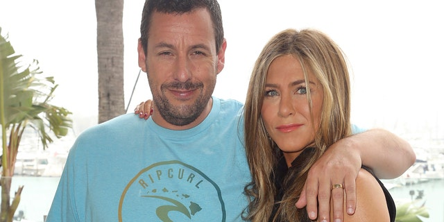 Adam Sandler, left, and Jennifer Aniston during a Murder Mystery print call during a Ritz-Carlton Marina del Rey on Tuesday, Jun 11, 2019, in Los Angeles.