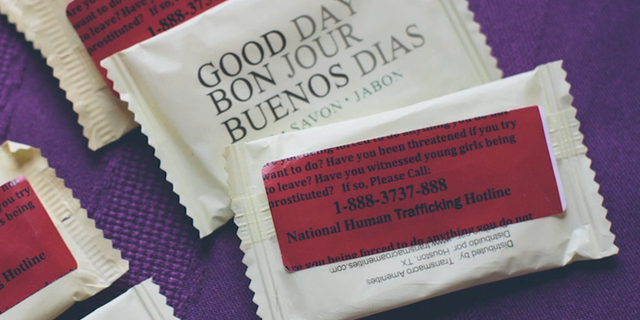 The bars of soap passed out to motels in high-trafficking areas by Theresa Flores and her advocacy group, S.O.A.P.