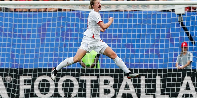 England's Ellen White celebrates after scoring her side's 2nd goal during the Women's World Cup round of 16 soccer match between England and Cameroon at the Stade du Hainaut stadium in Valenciennes, France, Sunday, June 23, 2019. (AP Photo/Michel Spingler)