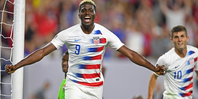 U.S. forward Gyasi Zardes (9) celebrates after scoring a goal against Trinidad and Tobago during the second half of a CONCACAF Gold Cup soccer match Saturday, June 22, 2019, in Cleveland. The United States won 6-0. (AP Photo/David Dermer)