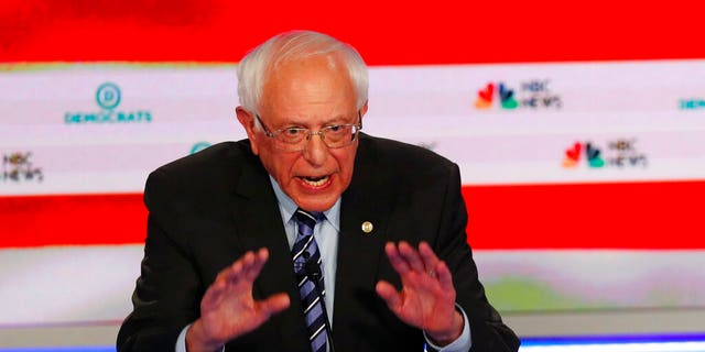 Democratic presidential candidate Sen. Bernie Sanders, I-Vt., speaks during the Democratic primary debate hosted by NBC News at the Adrienne Arsht Center for the Performing Art, Thursday, June 27, 2019, in Miami. (AP Photo/Wilfredo Lee)