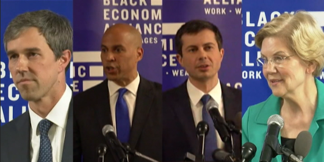 Four Democratic presidential candidates pitched policies plans to the federal government's approach to African-Americans on Saturday, using a forum in South Carolina to woo the state's crucially important electorate.