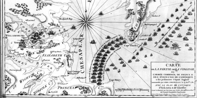 1781: French map of the coast of Virginia showing Cornwallis' army entrenched on the York River with the American and French armies laying siege around it. French Admiral de Grasse's fleet blocks the entrance to Chesapeake Bay.