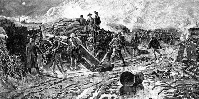 positive news General George Washington (center) inspects the French battery on the opening day of the siege of Yorktown, October 1781. Lithograph by Zogbaum published in 1881.