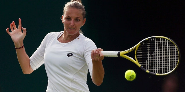 Kristyna Pliskova returns the ball to Karolina Pliskova during the grass-court Birmingham Classic tennis tournament, Wednesday, June 19, 2019 at the Edgbaston Priory Club in Birmingham, England. (Zac Goodwin/PA via AP)