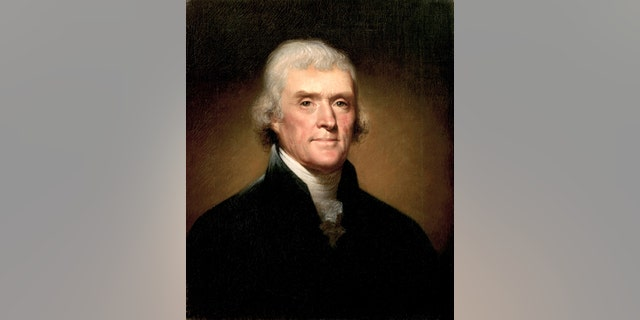 Painting of Thomas Jefferson by Rembrandt Peale, from 1800. The oil on canvas painting is located in the White House, Washington, DC, USA.