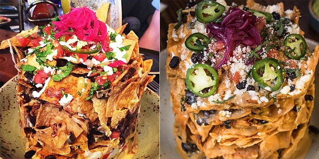 According to Guy Fieri's El Burro Borracho Restaurant menu, the gooey nachos come with chips, black beans, melty queso casero with pickled red onion, jalepenos and pico de gallo and cilantro on top as well as crumbled Cotija cheese and a choice of four different types of meat.