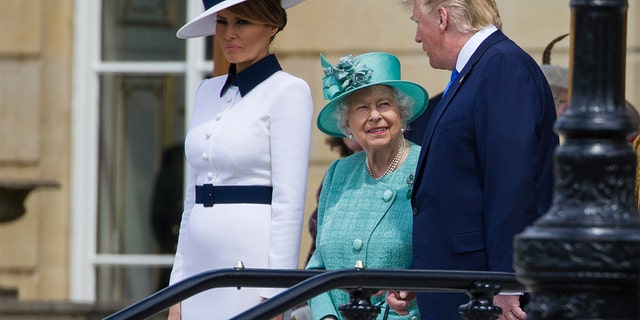 First lady Melania Trump with Queen Elizabeth II and President Trump at Buckingham Palace on Monday. (AP Photo/Alex Brandon)