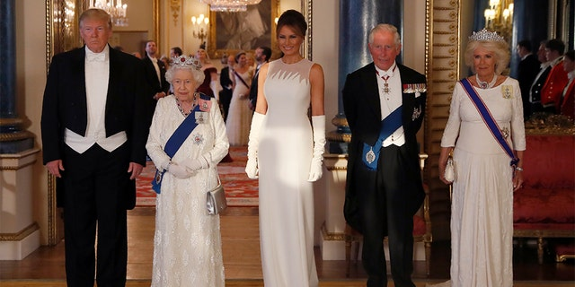 President Trump, Britain's Queen Elizabeth II, first lady Melania Trump, Prince Charles and Camilla, the Duchess of Cornwall, posing for the media ahead of the state banquet at Buckingham Palace in London on Monday.