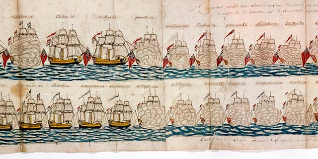American War of Independence: Battle of Yorktown, 1781.Two lines of warships firing broadsides. From a French logbook, held by the Henry Huntingdon Museum.