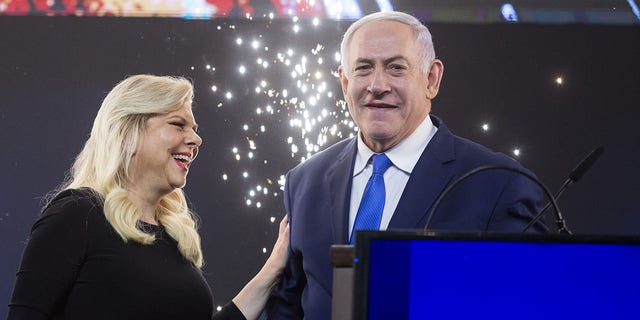 Israeli Prime Minister Benjamin Netanyahu and his wife, Sara, are seen in Tel Aviv,  April 10, 2019. (Getty Images)
