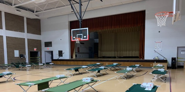 A Red Cross shelter is ready to go in North Little Rock