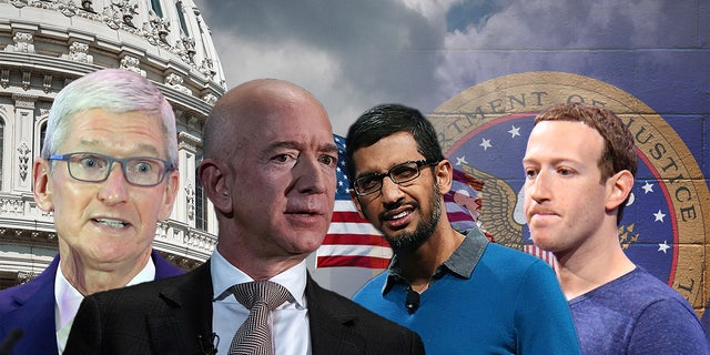 From left: Apple CEO Tim Cook, Amazon CEO Jeff Bezos, Google CEO Sundar Pichai and Facebook CEO Mark Zuckerberg. Big Tech is facing a regulatory reckoning.