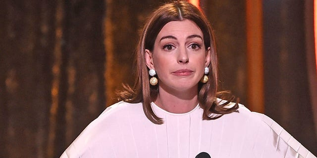 Anne Hathaway speaks onstage during the 22nd Annual Hollywood Film Awards at The Beverly Hilton Hotel on November 4, 2018 in Beverly Hills, California.