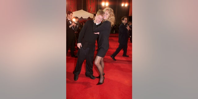 Farrah Fawcett and her son Redmond arrive at the 2001 Espy Awards. (Photo by Chris Farina/Corbis via Getty Images)