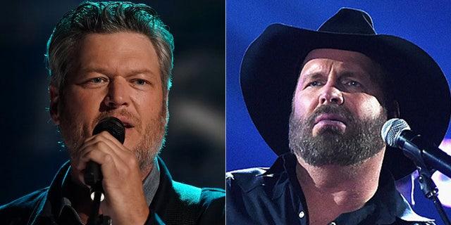 "Blake Shelton (left) and Garth Brooks teamed up for Brooks' new song ""Dive Bar."""