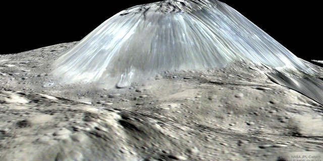 Unusual Mountain Ahuna Mons on Asteroid Ceres (Credit: Dawn Mission, NASA, JPL-Caltech, UCLA, MPS/DLR/IDA)