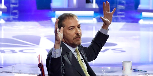 NBC's Chuck Todd begged the audience to stay quiet and repeatedly pleaded with candidates to shorten their answers and hurry up during the Democratic debate. (REUTERS/Mike Segar)