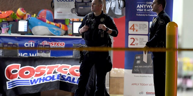 The Corona police department investigate a shooting inside a Costco in Corona, Calif., Friday, June 14, 2019.