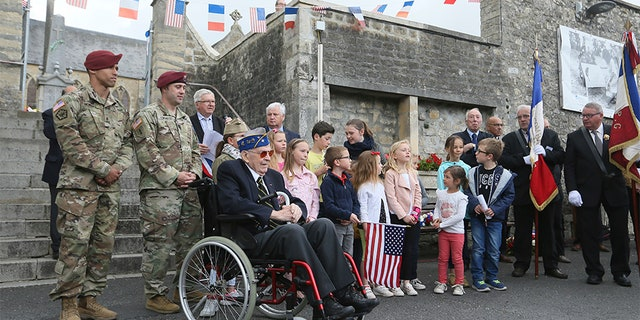 U.S veteran Leonard Ladislas Jintra, from New York, 29 Infantry Division, 115th regiment, attends a ceremony in La Cambe, Normandy, on Wednesday.