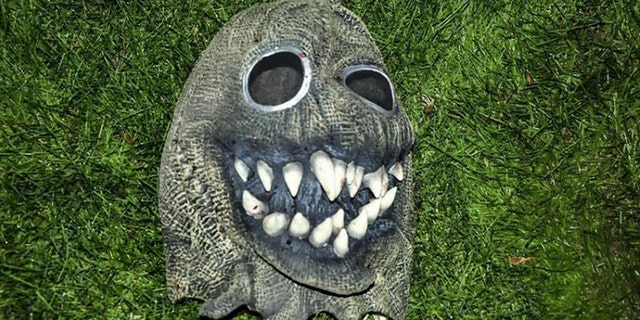 """The Will County sheriff's office released this image of the """"demonic mask"""" Frantz was found wearing at the scene of the attack."""