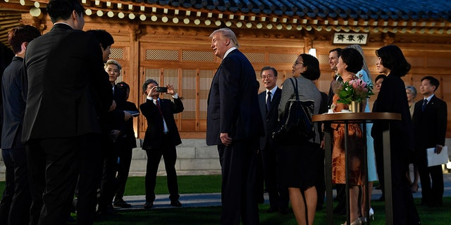 Westlake Legal Group donald-trump-korea-3-AP Trump meets top K-pop band during South Korea trip, Ivanka receives signed album copy Lukas Mikelionis fox-news/world/world-regions/south-korea fox-news/world/conflicts/north-korea fox-news/politics/executive/white-house fox-news/politics/executive fox-news/person/donald-trump fox news fnc/world fnc article 931480fc-5642-5d9c-afa1-6f4b82204081