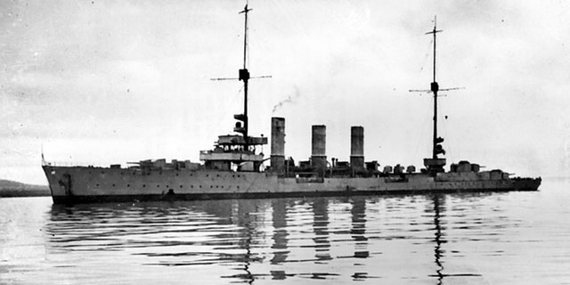 SMS Kalrushe. The wrecks of four First World War battleships that have been lying on the seabed in Orkney for a century have been put up for sale on eBay. Dreadnoughts Kronprinz Wilhelm, Konig and Markgraf and the cruiser Karlsruhe were part of the German High Seas Fleet, which was famously scuttled at Scapa Flow while interned there as the Treaty of Versailles was being finalized. The scuttling was carried out on June 21, 1919 on the orders of Admiral Ludwig von Reuter to prevent allied forces seizing the ships after Germany's defeat in the conflict. British guard boats were able to beach a number of the ships, but 52 of the 74 interned vessels sank. (Credit: SWNS)