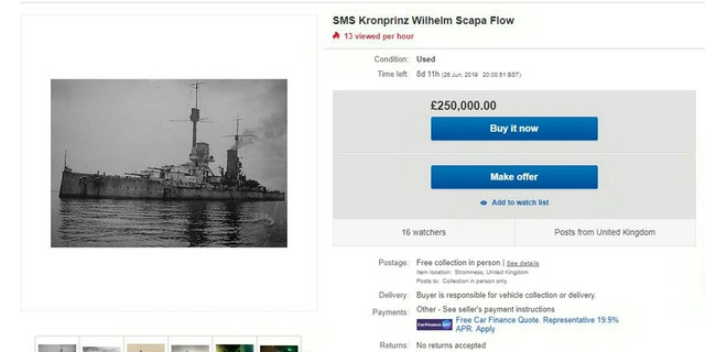 The eBay advert for the sale of the SMS Kronprinz Wilhelm Scapa Flow for £250,000. (Credit: SWNS, eBay)
