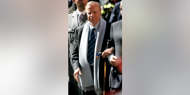 In this Saturday, Sept. 8, 2007 file photo, Italian movie director Franco Zeffirelli arrives at the funeral service of late Italian tenor Luciano Pavarotti in Modena's Duomo Cathedral, Modena, Italy. Italian film director Franzo Zeffirelli has died in Rome at the age of 96. Zefffirelli's son Luciano said his father died at home on Saturday at noon.