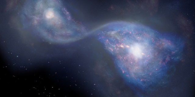 An artist's sense of merging galaxies famous as B14-65666 some 13 billion light-years away.