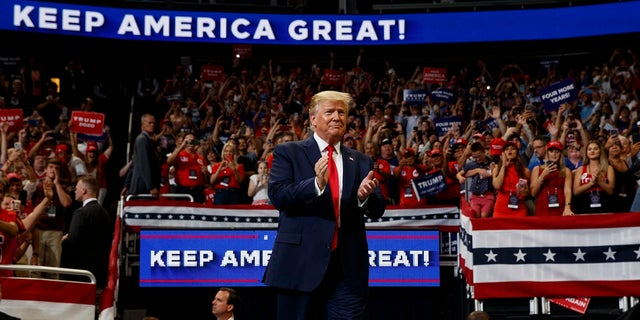 President Donald Trump arrives to speak at his re-election kickoff rally at the Amway Center, Tuesday, June 18, 2019, in Orlando, Fla. (Associated Press)