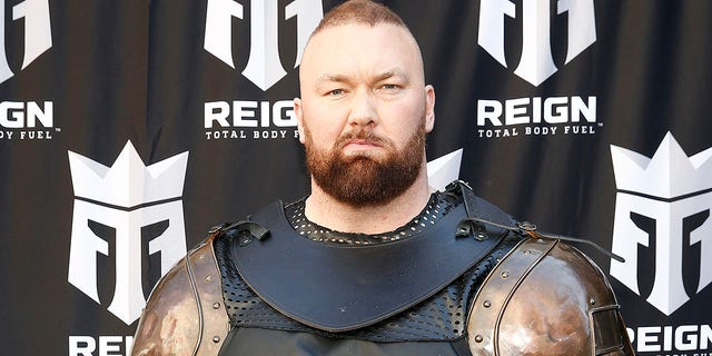 """Game of Thrones"" actor Hafþór Júlíus Björnsson (Thor) ""The Mountain"" leads a march through the streets of Times Square to celebrate the launch of Monster Energy's new performance beverage REIGN Total Body Fuel on April 16, 2019. He's out to defend his World's Strongest Man title following the ""Game of Thrones"" series finale."