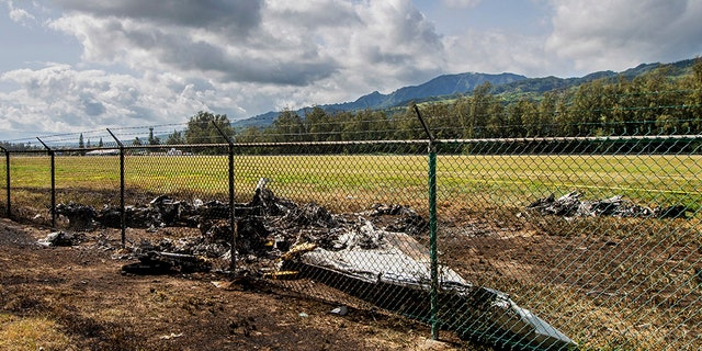 This is the site at Dillingham Airfield in Mokuleia, Hawaii, where a Beechcraft King Air twin-engine plane crashed Friday, killing 11.