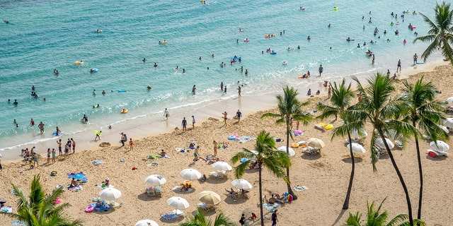 An aerial shot of Waikiki Beach in Oahu, Hawaii.