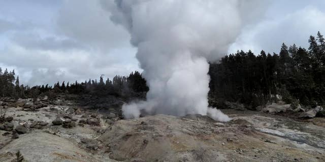 A USGS image shows steam rising from Steamboat Geyser after an earlier eruption.