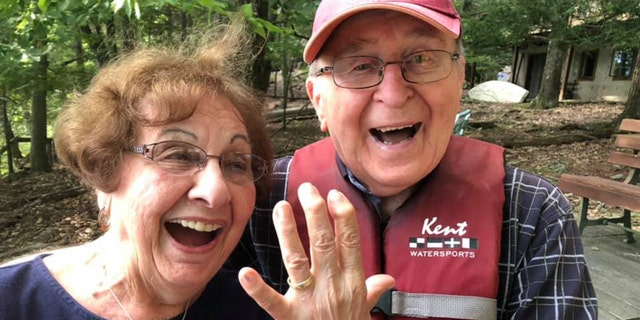 Grace Paulnack, 86, was happy to have her wedding ring back on her finger after losing it in a lake Wednesday.