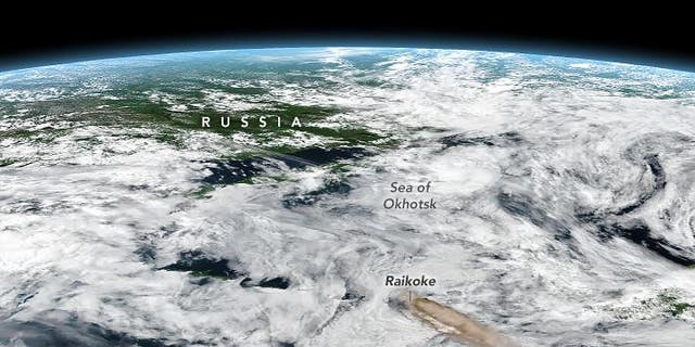 This image released by NASA shows the location of the Raikoke volcano.
