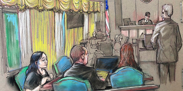 In this April court sketch, Yujing Zhang, left, a Chinese woman charged with lying to illegally enter President Donald Trump's Mar-a-Lago club, listens at a hearing in West Palm Beach, Fla.