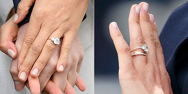 Meghan Markle's ring on her engagement day (left) and during Trooping the Colour (right). Reuters/Getty