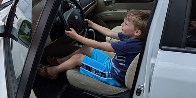 Sebastian shows how he got behind the wheel of his great-grandfather's SUV and took it for a joyride.