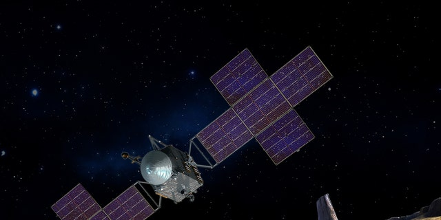This artist's-concept illustration depicts the spacecraft of NASA's Psyche mission near the mission's target, the metal asteroid Psyche. The artwork was created in May 2017 to show the five-panel solar arrays planned for the spacecraft. (Credit: NASA/JPL-Caltech/Arizona State Univ./Space Systems Loral/Peter Rubin)