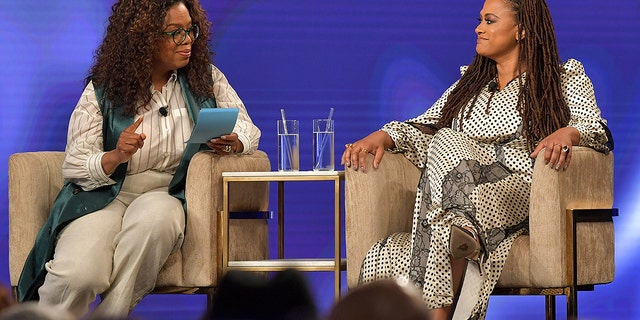 """Oprah Winfrey and Ava DuVernay speak onstage at the Netflix """"When They See Us"""" FYSEE Event at Raleigh Studios on June 09, 2019 in Los Angeles."""