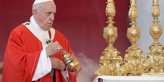 Pope Francis celebrates a Pentecost Vigil mass in St. Peter's Square, at the Vatican, on June 8.